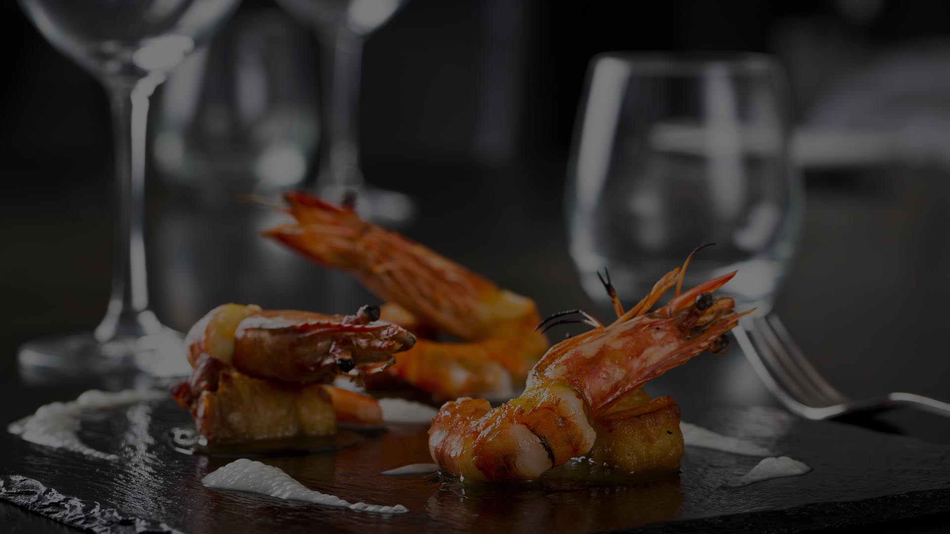 Prawns on a slate
